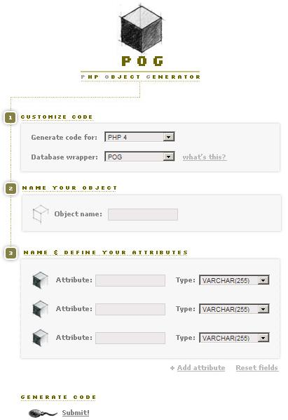 PHP Object Generator Form